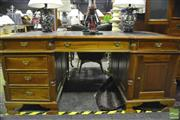 Sale 8341 - Lot 1001 - Mahogany Partners Desk with Tooled Leather Top