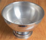 Sale 8489A - Lot 69 - A large circular stainless steel footed champagne bowl, D 35cm