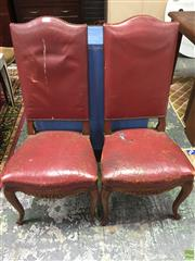 Sale 8601 - Lot 1044 - Pair French Oak & Leather Highback Chairs (fault to one)