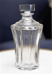 Sale 8709 - Lot 1027 - A waisted form faceted crystal decanter, stopper engraved 13,  H x 22.5cm