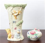 Sale 8774A - Lot 26 - A Lennox China Winnie The Pooh and Friends vase together with a Franz porcelain pin dish Height of vase 24cm boxes included
