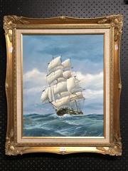 Sale 8803 - Lot 2090 - M. Grant Tall Ship at Sea acrylic, 64 x 54c (frame), signed