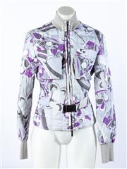 Sale 9003F - Lot 99 - A Versace Sport Jacket with clip clasp to front, in purple and blue swirl designs, size S