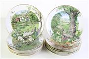 Sale 8989 - Lot 93 - Set of twelve Royal Worcester Scenes of the English Countryside cabinet plates by Peter Barrett Dia 22cm