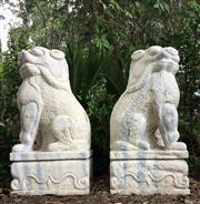 Sale 9015G - Lot 31 - Pair Large Impressive Carved Marble Temple Foo Dogs Each Carved  From One Piece of Marble,Size: 63cm H x28cm Wx31 cm L .General Wear