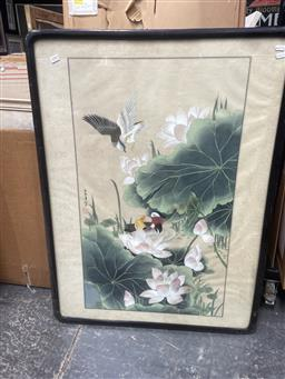 Sale 9101 - Lot 2057 - Chinese School Water Birds & Lotus Flowers, gouache on silk, frame: 102 x 76 cm,