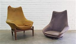Sale 9108 - Lot 1051 - Vintage modern design armchair on timber frame Together with another similar frame (h90 x w74 x d52cm)