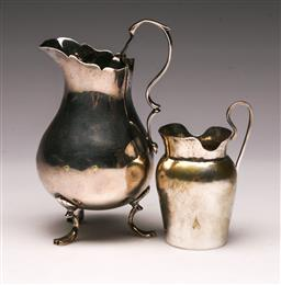 Sale 9119 - Lot 26 - George III sterling silver creamer, (H: 11cm) together with a continental example (H:7cm)