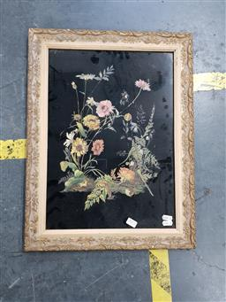 Sale 9127 - Lot 2072 - Early 20th century still life of wildflowers on glass, frame: 55 x 42 cm, unsigned -