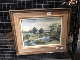 Sale 9130 - Lot 2028 - John Upton A Bend in the River watercolour, frame: 42 x 40 cm, signed lower right
