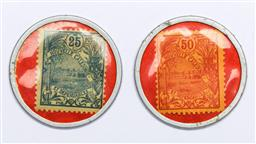 Sale 9144 - Lot 155 - A pair of Noumea stamp tokens, 25c & 50c