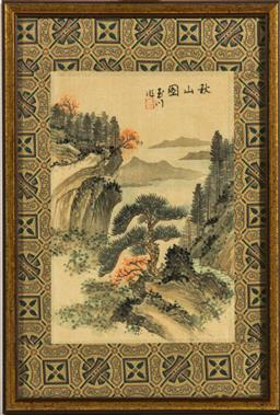 Sale 9168 - Lot 417 - A small framed Chinese artwork featuring mountain scene (24cm x 16cm)