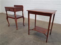 Sale 9166 - Lot 1097 - Timber 2 tier side table and another (h:71 x w:50 x d:39cm)