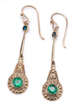 Sale 9194 - Lot 351 - A PAIR OF 9CT GOLD EMERALD AND DIAMOND EARRINGS; each a stylised flower centring a round cut emerald to bar link topped with a round...