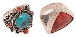 Sale 9213 - Lot 317 - TWO SILVER STONE SET RINGS; one set with a faux turquoise and 4 coral beads on a 26mm wide scrolling mount with butterfly shoulders...