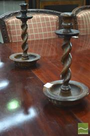 Sale 8291 - Lot 1004 - Pair of Turned Oak Barley Twist Candle Sticks