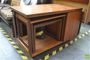 Sale 8404 - Lot 1071 - McIntosh Teak Nest of Tables with Fold Over Top