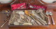 Sale 8470H - Lot 65 - A rectangular EP tray and contents including various servers, forks, tongs, spoons, hood etc