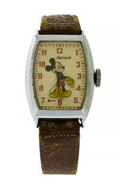 Sale 8522A - Lot 25 - A vintage Art Deco chrome case Ingersoll-U.S, time manual wind Mickey Mouse wristwatch, running and keeping time, case approx. 31 x...