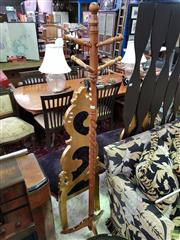 Sale 8580 - Lot 1026 - Turned Timber Coatstand on Tripod Form Base (H: 181cm)