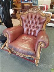 Sale 8611 - Lot 1056 - French Style Wingback Armchair with Studded Trim & Burgundy Leather Upholstery
