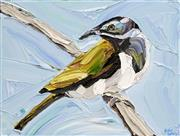 Sale 8708A - Lot 560 - Jodie Wells - Still Looking - Blue-faced Honey Eaters 30.5 x 40cm