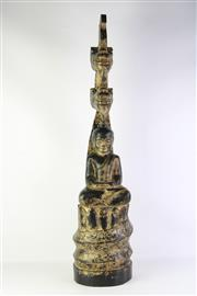 Sale 8810 - Lot 47 - Burmese Buddha Seated under Double Naga Height: 97 cm