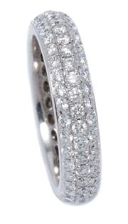 Sale 8980J - Lot 90 - An 18ct White Gold  Full Hoop Diamond Eternity Ring; pave set with  118 round brilliant cut diamonds totalling approx. 1.37ct, VS, w...