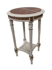 Sale 9015J - Lot 134 - An early 20th French painted finish side table with fitted rouge marble top. 72 x 43 cm