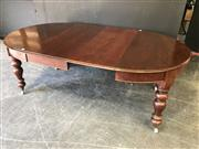Sale 9048 - Lot 1031 - 400Antique Cedar Dining Table with Turned Legs and Two Leaves - one leaf missing apron (H:75 exW:210 W:120 D:122cm)