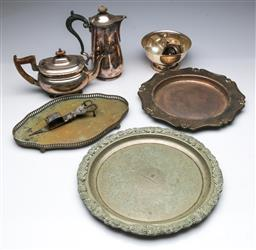 Sale 9098 - Lot 426 - Small Collection of EPNS Wares incl. Trays, Teapot, Coffee Pot, etc.