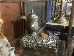 Sale 9101 - Lot 2362 - Metal coffee pot (H25cm) together with a Godinger jewellery box