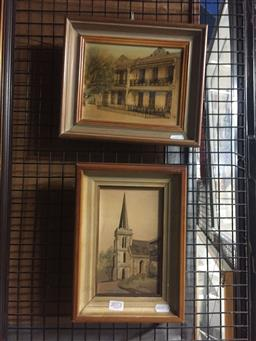 Sale 9130 - Lot 2072 - Diane Lane (two works) Balmain & St Peters Church, c 1970s, ink and oil, frame: 23 x 26 cm, 28 x 28 cm