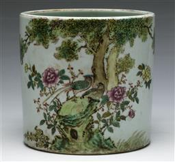 Sale 9138 - Lot 76 - A Famille Rose Chinese Brush Washer Decorated With Flowers and Birds (H:9cm Dia :9cm)