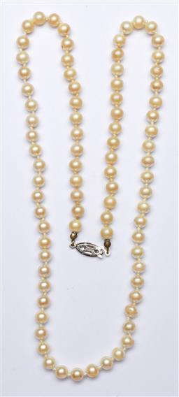 Sale 9144 - Lot 189 - A vintage Pearl necklace with silver clasp