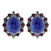 Sale 8060B - Lot 308 - A PAIR OF 18CT WHITE GOLD TANZANITE RUBY AND DIAMOND STUD EARRINGS; each centring a cabochon tanzanite estimated as 7.40ct surrounde...