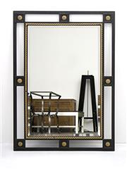 Sale 8216A - Lot 34 - Highgate mirror, forged iron frame with rope twist and gilt detail, bevelled edge mirror, W 85 x 110cm, RRP $1,320.00