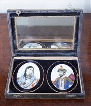 Sale 8800 - Lot 47 - A pair of Eastern hand painted miniatures, on ivory, displayed in a mirror backed box, W of box 18cm