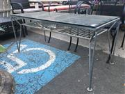 Sale 8740 - Lot 1217 - Glass Top Coffee Table with Wrought Iron Base