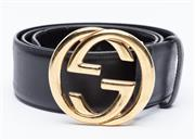 Sale 9010H - Lot 3 - A wide band Gucci black leather belt with double G clasp, Size 90-36cm, total length 115cm