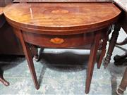 Sale 8993 - Lot 1093 - Georgian Style Mahogany Demi-Lune Card Table, inlaid with central bat-wing medallion & on square tapering legs
