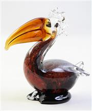 Sale 8997 - Lot 37 - After a design by Murano, Vintage Sommerso Figure of a Toucan, (Some Wear A/F) H:15cm