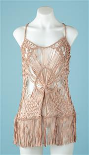 Sale 9027F - Lot 50 - A rose gold tasseled and crochet over shirt, size XS