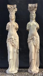 Sale 9080G - Lot 11 - Pair of Impressive Carved Pink Marble Caryatid Columns Depicting Female Figures .Each Column Consist Of 2 Pieces (Capital Top,Column...