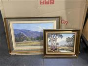 Sale 9082 - Lot 2056 - C. Kooyman Granpean Ranges, oil on canvas on board, frame: 57 x 80 cm, signed lower right together with a landscape painting by El...