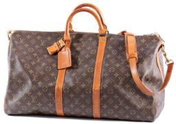 Sale 9132 - Lot 458 - A LOUIS VUITTON KEEPALL 55, monogrammed coated canvas with leather trimming, signature toron handles and detachable, adjustable cros...