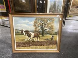 Sale 9123 - Lot 2091 - P V Hunt Ploughing a Field, oil on canvas, frame: 48 x 60 cm, signed lower right -