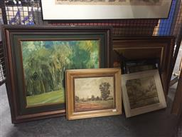 Sale 9130 - Lot 2086 - A group of seven vintage oil paintings of landscapes, street scenes and a still life, various sizes