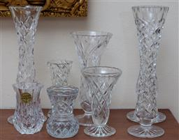Sale 9155H - Lot 30 - A group of moulded and cut glass trumpet vases. Tallest 21cm