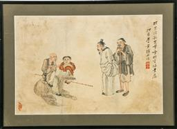 Sale 9156 - Lot 82 - A framed Chinese pencil and watercolour of elders and dog (54cm x 39cm)